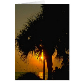 Sunset Over Palm Trees Greeting Card