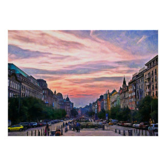Sunset over Prague's Wenceslas Square Poster