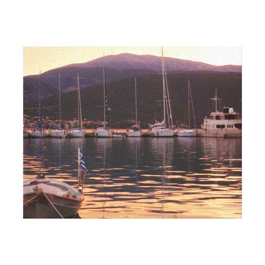 Sunset Over Sami Boats (Kefalonia) Canvas Print