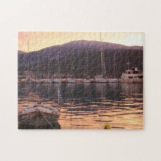 Sunset Over Sami Boats (Kefalonia) Jigsaw Puzzle