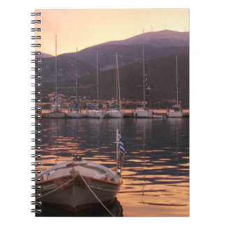 Sunset Over Sami Boats (Kefalonia) Notebook