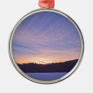 Sunset over Snow-covered Winter Lake & Trees Silver-Colored Round Decoration