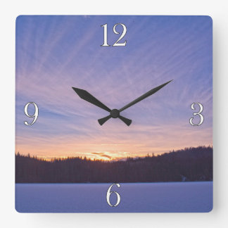 Sunset over Snow-covered Winter Lake & Trees Wall Clocks