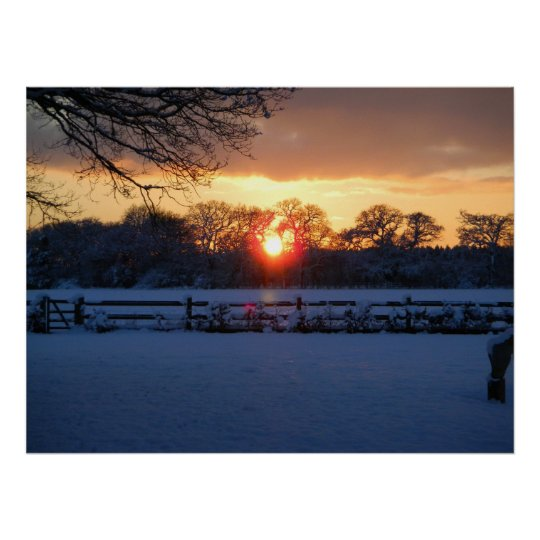 Sunset over snow field poster