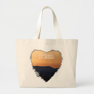 Sunset Over Snowy Mountains; Customizable Jumbo Tote Bag