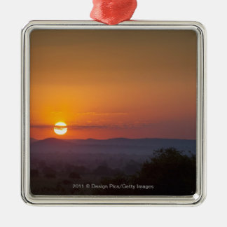 Sunset Over The African Landscape Silver-Colored Square Decoration