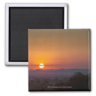Sunset Over The African Landscape Square Magnet
