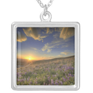 Sunset over the Bitterroot Mountains and vast Silver Plated Necklace