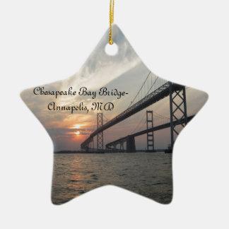 Sunset over the Chesapeake Bay Bridge Ceramic Star Decoration