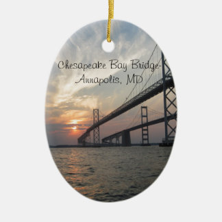 Sunset over the Chesapeake Bay Bridge Christmas Ornament