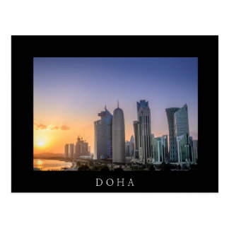 Sunset over the city of Doha, Qatar Postcard