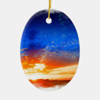 Sunset over the English countryside. Christmas Ornament