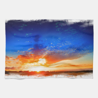 Sunset over the English countryside. Tea Towel