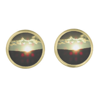 Sunset over the hill gold finish cuff links