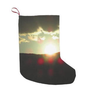 Sunset over the hill small christmas stocking