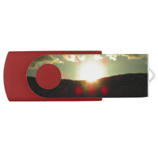 Sunset over the hill USB flash drive