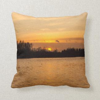 Sunset over the lake cushion