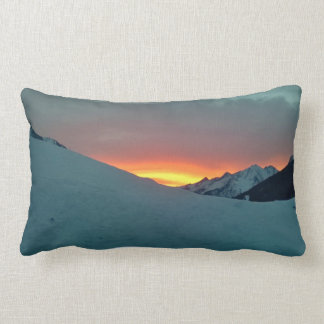 Sunset over the mountains lumbar pillow