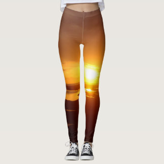 Sunset over the Pacific Ocean Brown and Yellow Leggings