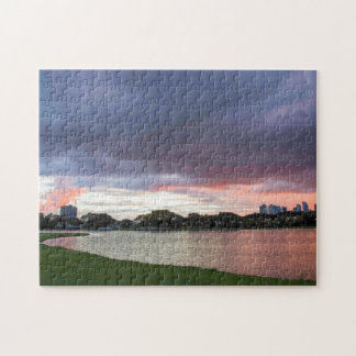 Sunset Over The Park Jigsaw Puzzle