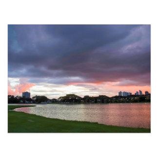 Sunset Over The Park Postcard