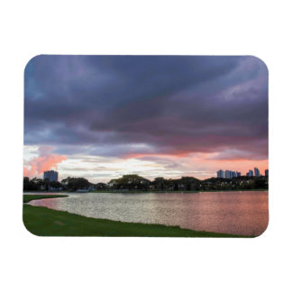Sunset Over The Park Rectangular Photo Magnet