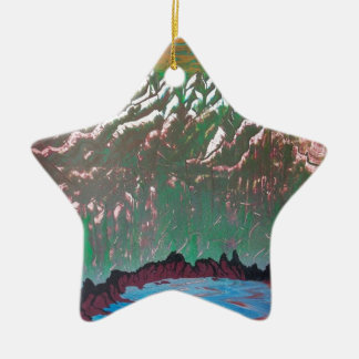 Sunset over the Ridged Mountains Christmas Ornament