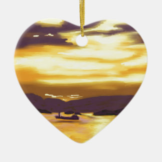 Sunset over the sea ceramic heart decoration