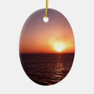 Sunset over the sea ceramic oval decoration