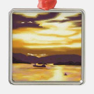 Sunset over the sea christmas ornament