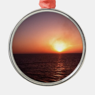 Sunset over the sea Silver-Colored round decoration