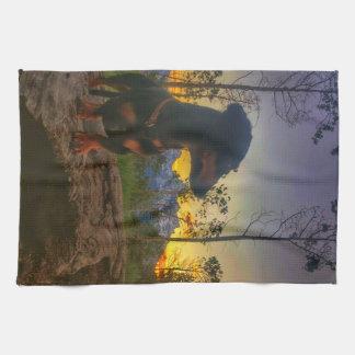 Sunset over the Tetons Tea Towel