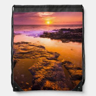 Sunset over tide pools, Hawaii Drawstring Bag
