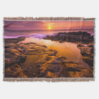 Sunset over tide pools, Hawaii Throw Blanket