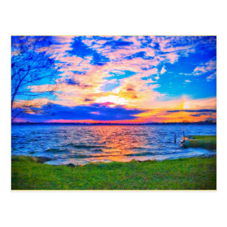Sunset over Walled Lake postcard