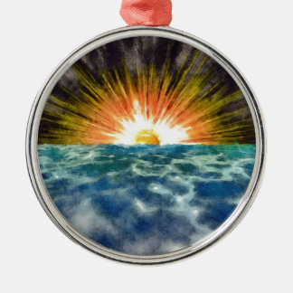 Sunset Over Water Silver-Colored Round Decoration