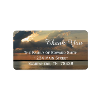 Sunset over Water Thank You Label