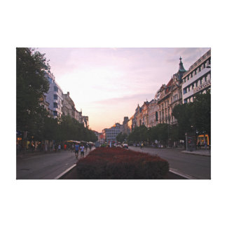 Sunset over Wenceslas Square in Prague. Canvas Print