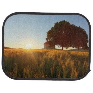 Sunset Over Wheat Field Car Mat