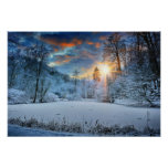 Sunset Over Winter Forest Lake Poster