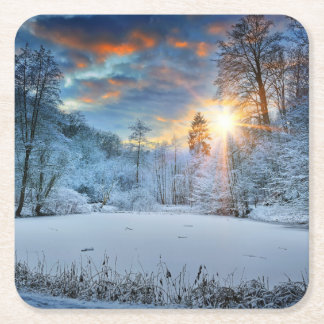 Sunset Over Winter Forest Lake Square Paper Coaster