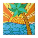 Sunset Palm Ceramic Tile