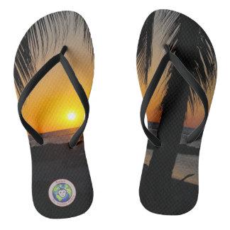 Sunset Palm Flip Flops
