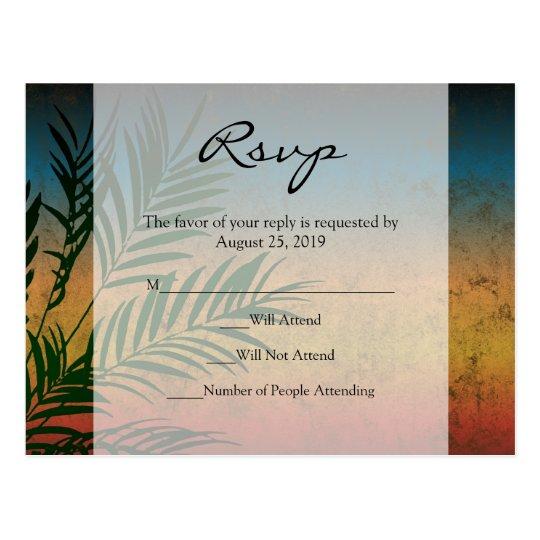 Sunset Palm Tree Branch Wedding RSVP Cards