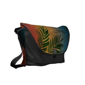 Sunset Palm Tree Silhouette Monogram Shoulder Bag Messenger Bag