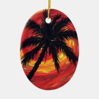 Sunset palms ceramic oval decoration