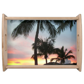 Sunset Palms Tropical Landscape Photography Serving Tray