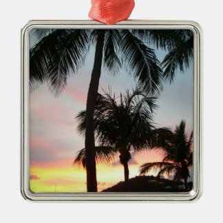Sunset Palms Tropical Landscape Photography Silver-Colored Square Decoration