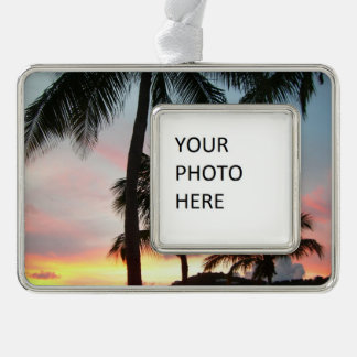 Sunset Palms Tropical Landscape Photography Silver Plated Framed Ornament