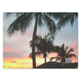 Sunset Palms Tropical Landscape Photography Tissue Paper